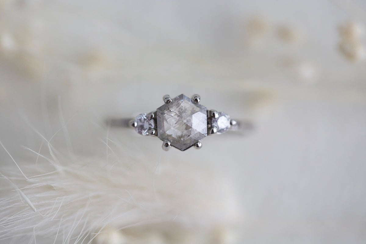 Image of platinum hexagonal rose-cut grey diamond ring (IOW114)