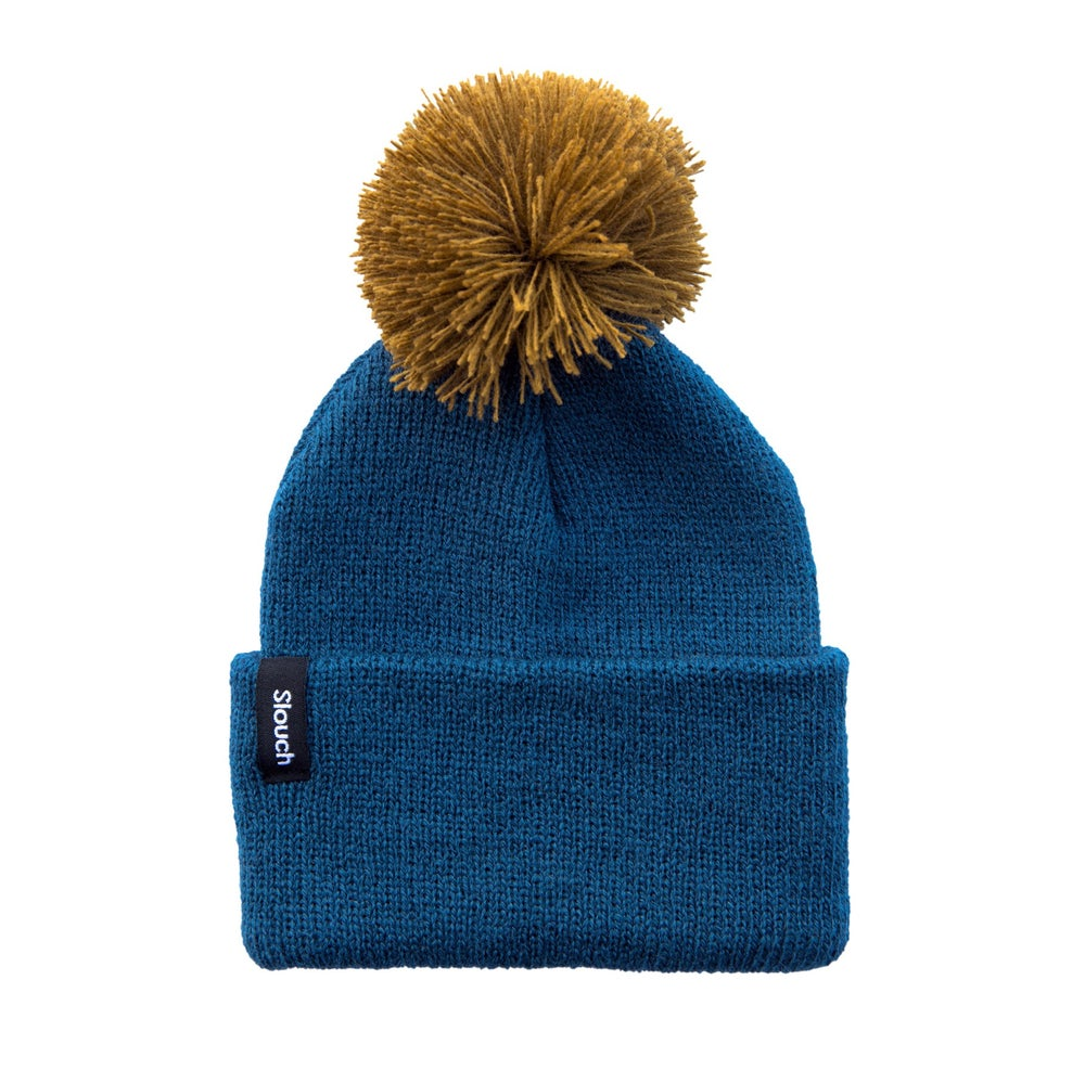 Image of Blue Knit Cuff Pom Beanie