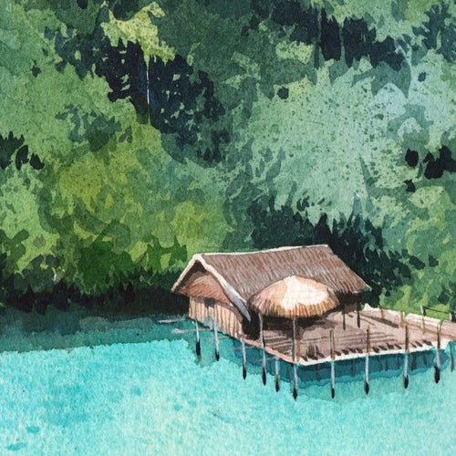 "Image of Original Painting - ""Ile de Waigeo"" - 21x35,5 cm"