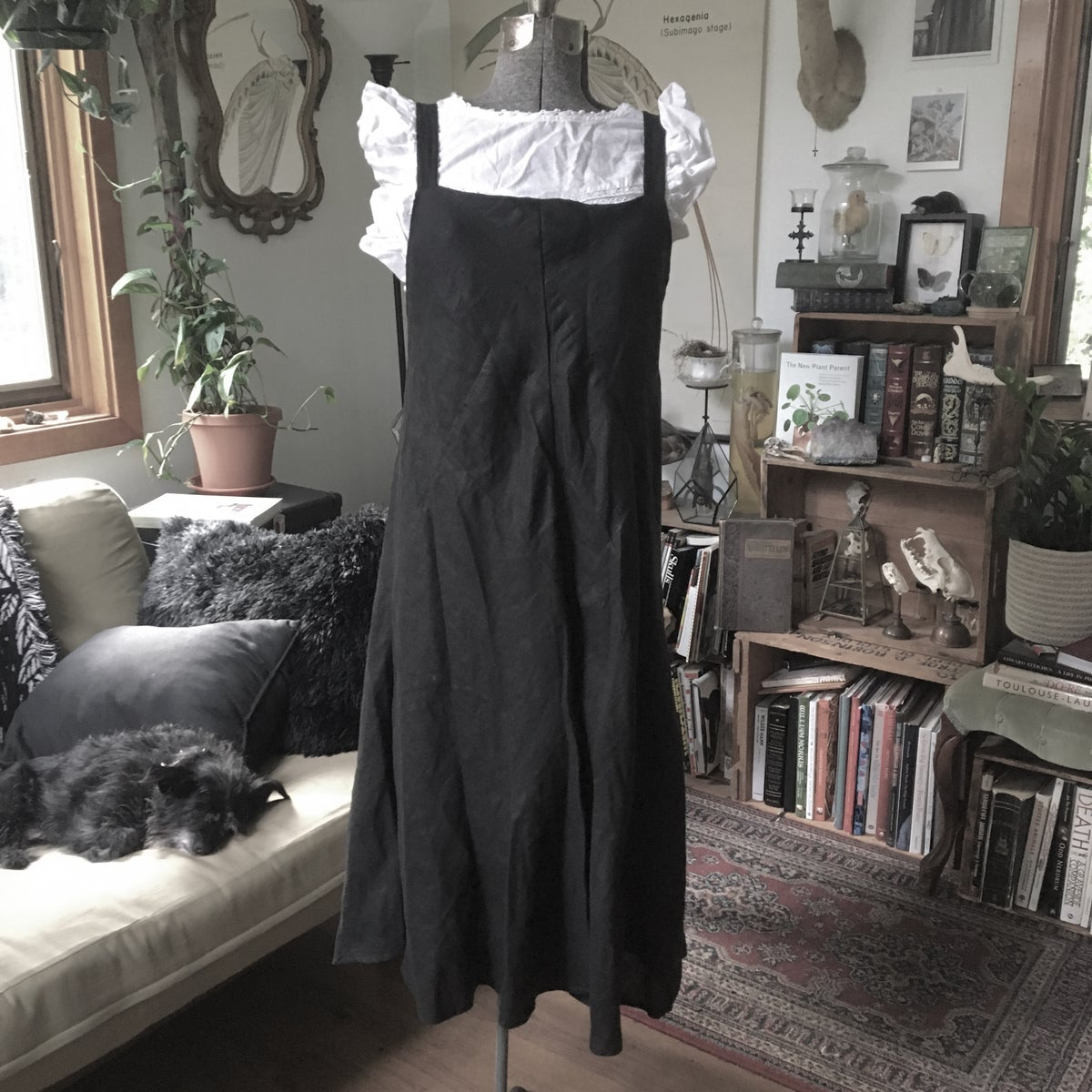 Image of Black Pinafore Dress
