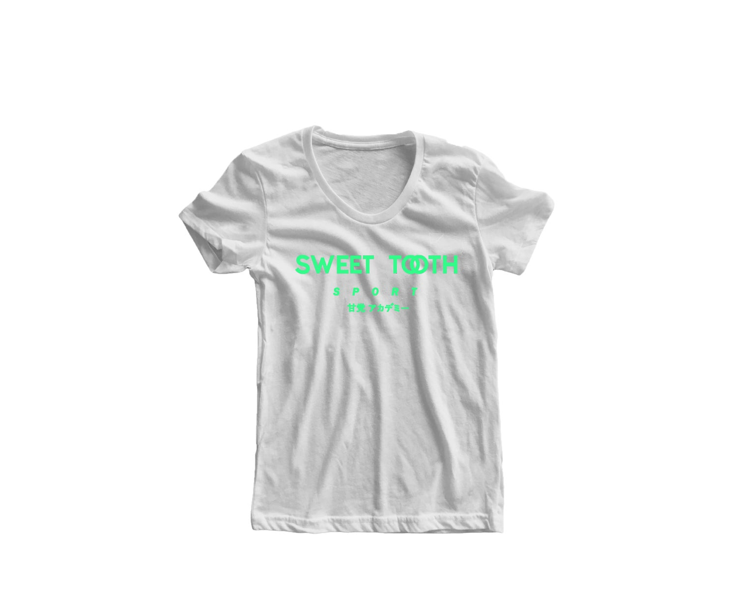 Image of Sweet Tooth Sport Tee White & Neon Green (Womens)