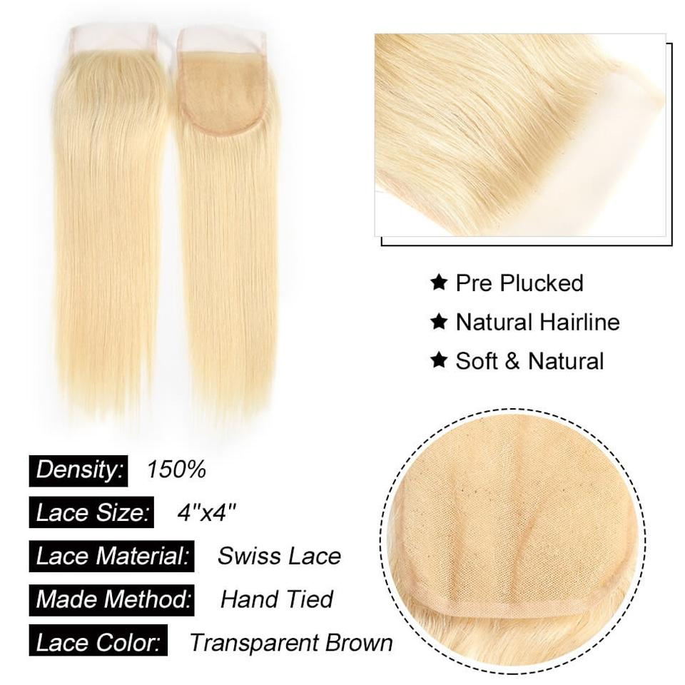 Image of Boudoir Blonde Straight 613 & 1B/613 Lace Closure