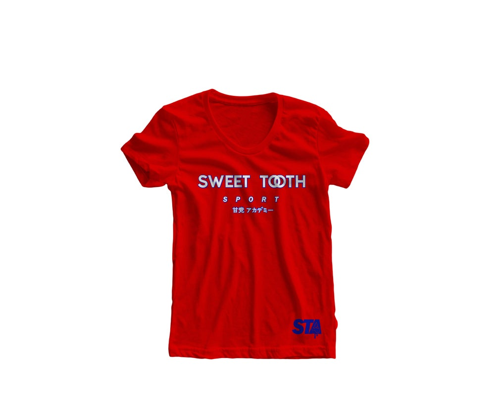 Image of Sweet Tooth Sport Tee Red & Blue (Womens)