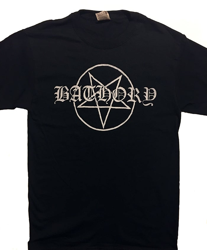 "Image of Bathory "" Pentagram Logo"" T shirt"