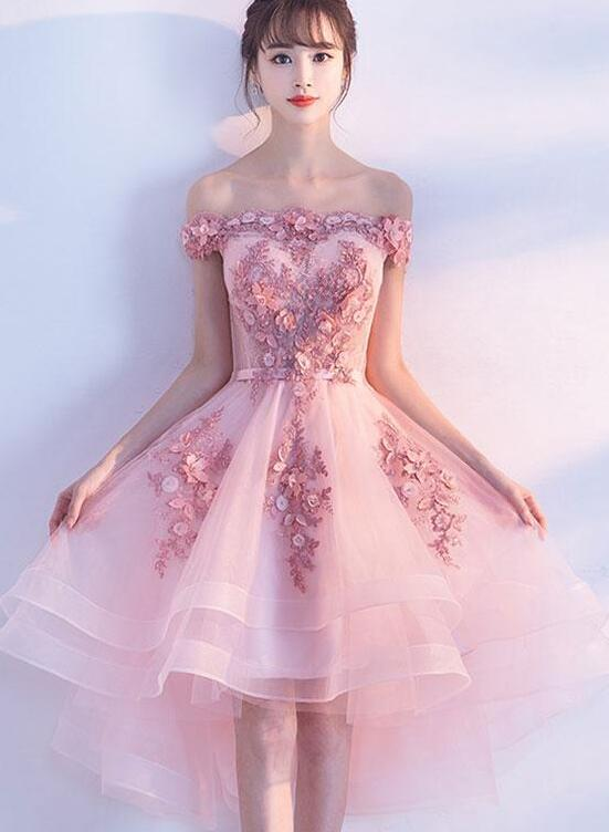 Pink Off the Shoulder Homecoming Dress, Lovely Pink Party Dress