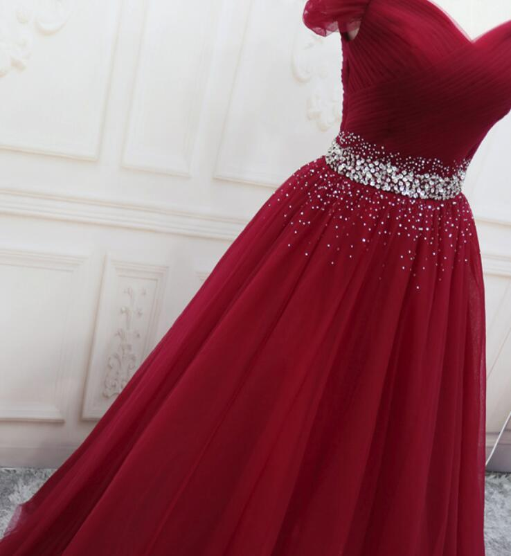 Beautiful Dark Red Tulle Beaded Long Prom Gown, Off Shoulder Prom Dress