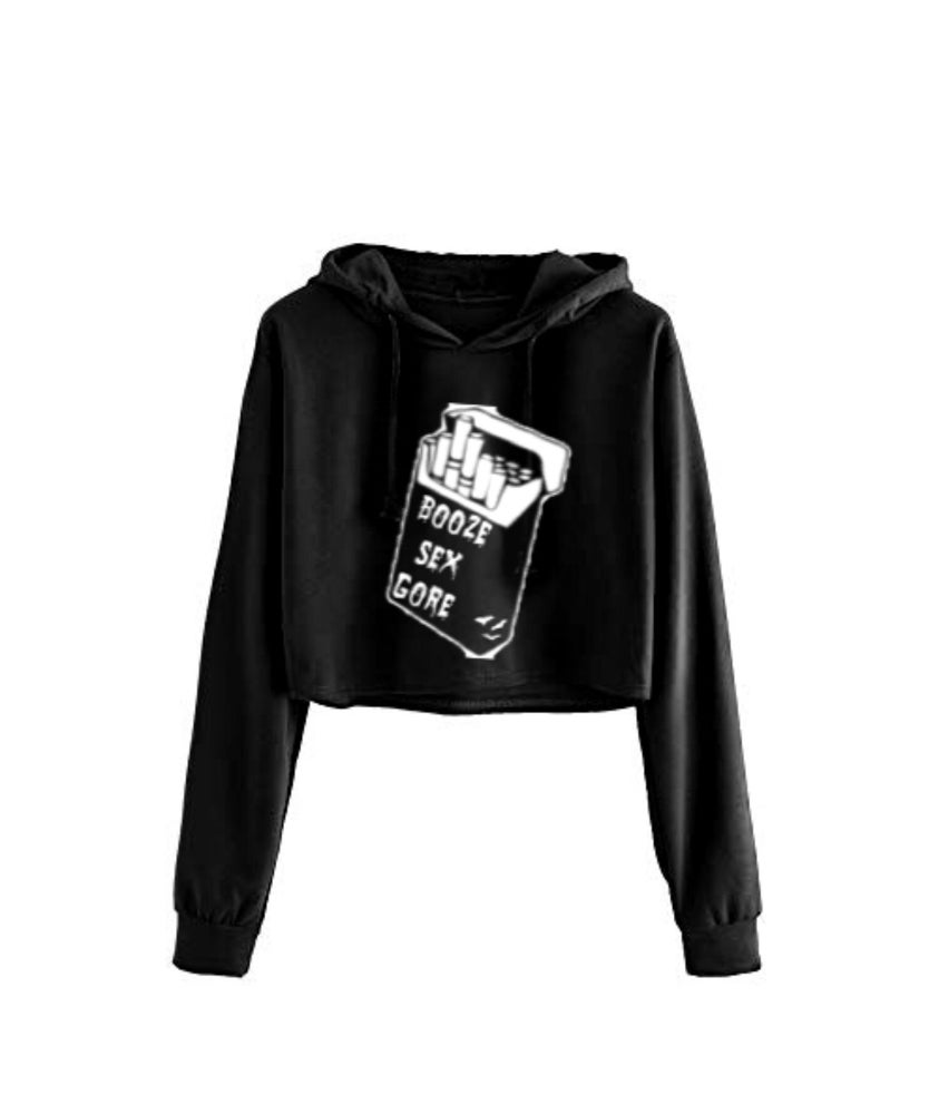 Image of Booze Sex Gore Cropped Hoodie