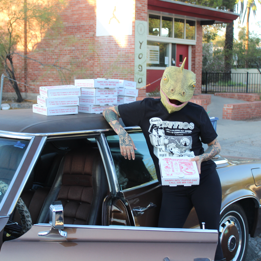 """Image of """"Int'l Puffio Day"""" - Red and White Ringer Tee *Riso Zine and Pizza box included"""