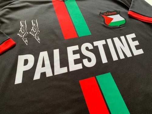 Image of Palestine Black Centre Striped (Red/Green English) Football Shirt