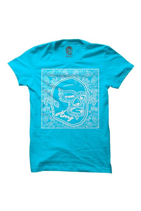 Image of HAOMING Paisley Mask T-Shirt (Blue)