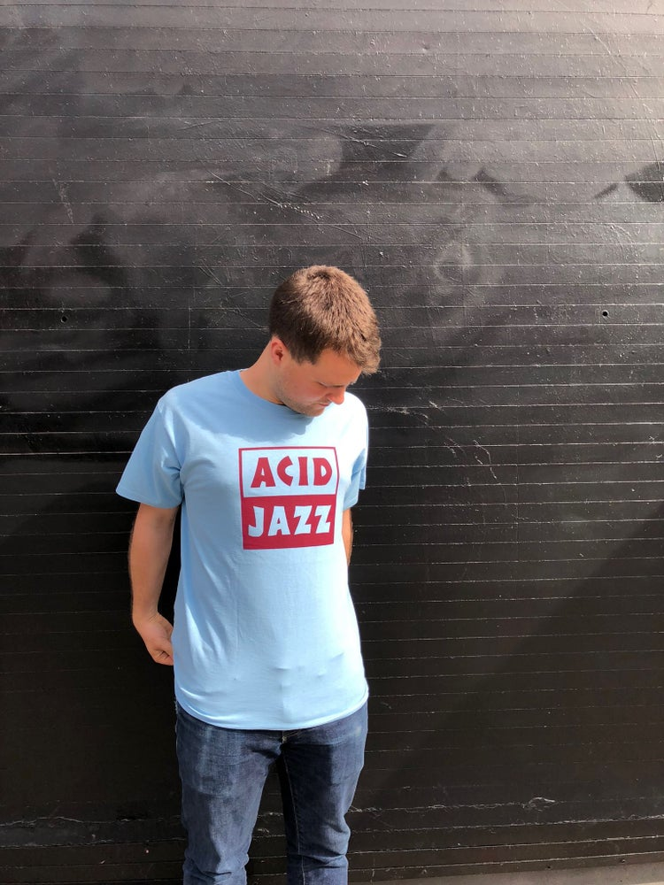 Image of Acid Jazz Logo Shirt (Blue and Claret)