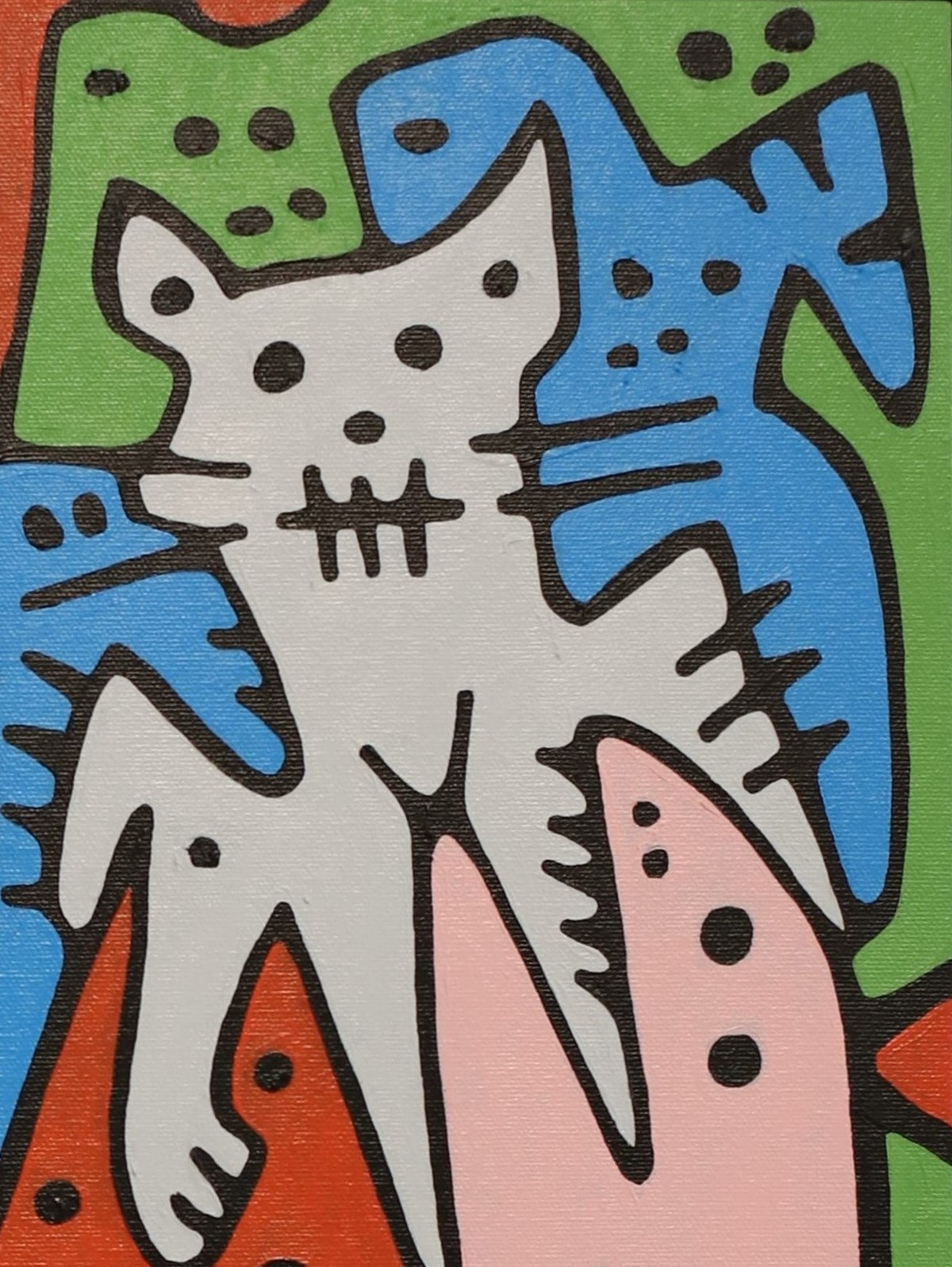 """Image of """"Fishy Bait & Fat Cats"""" (Original Painting)"""