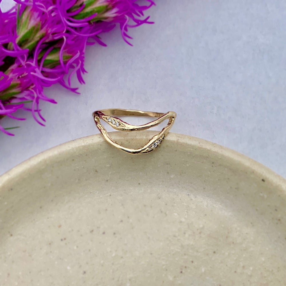 Image of 14k Gold Double Tide Ring with Diamonds