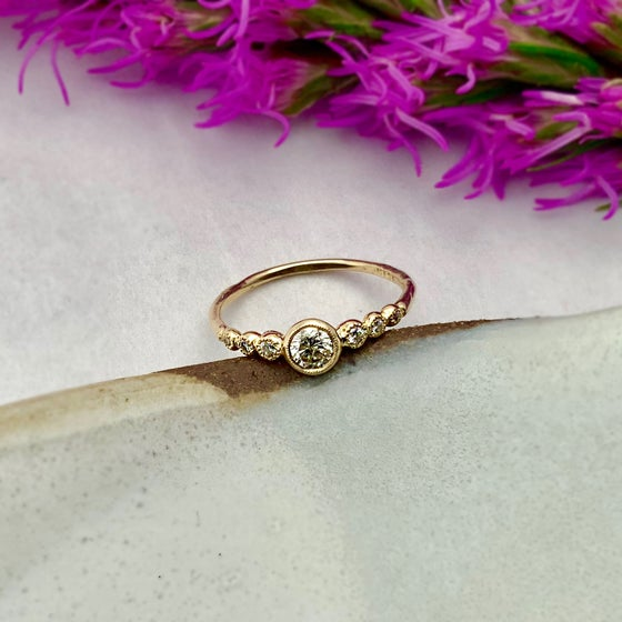 Image of 14k Gold Diamond Dew Drop Ring