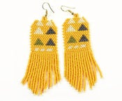 Image of Mustard Triangle Beaded Fringe Earrings