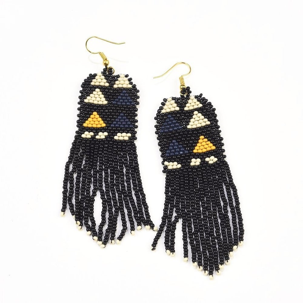 Image of Black Triangle Beaded Fringe Earrings