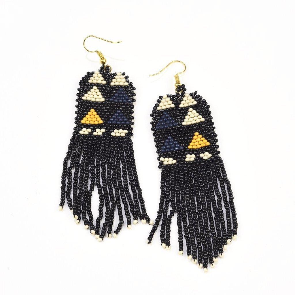 Image of Black Triangle Beaded Fringe Earrings