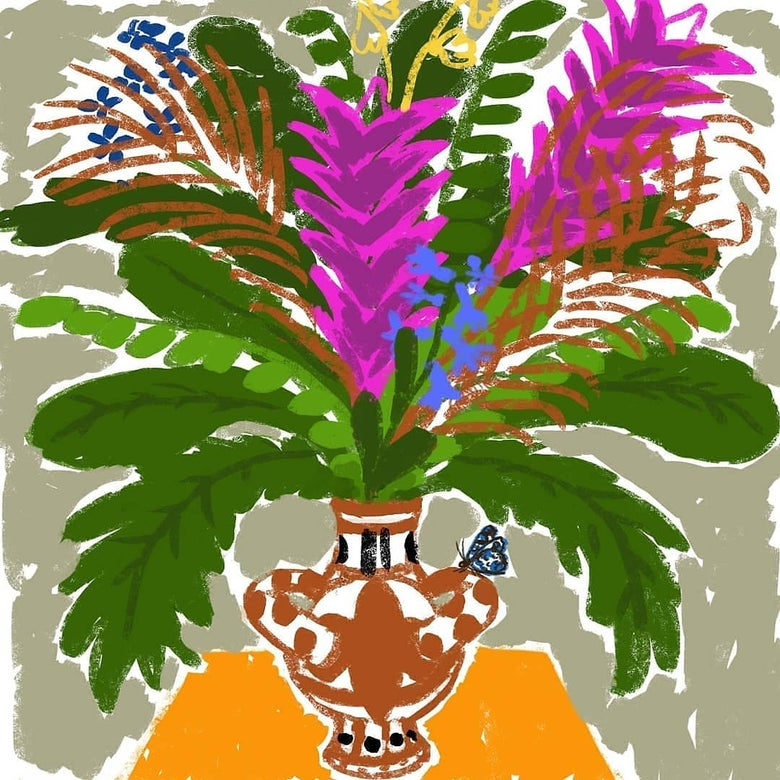 Image of Exotic flowers in a vase
