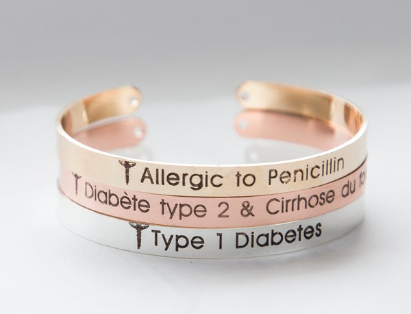 Image of Medical Alert Bracelet, Diabetes Medical ID Bracelet Gift, Cuff Bracelet, Allergy Alert Bracelet
