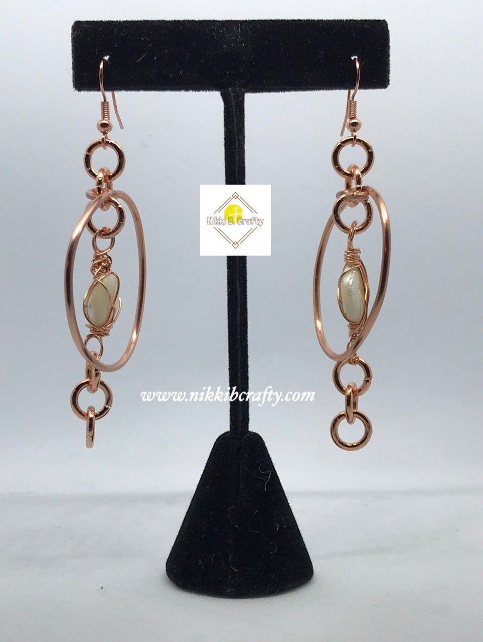 Image of Copper N' Shell Wire Wrapped Hoops