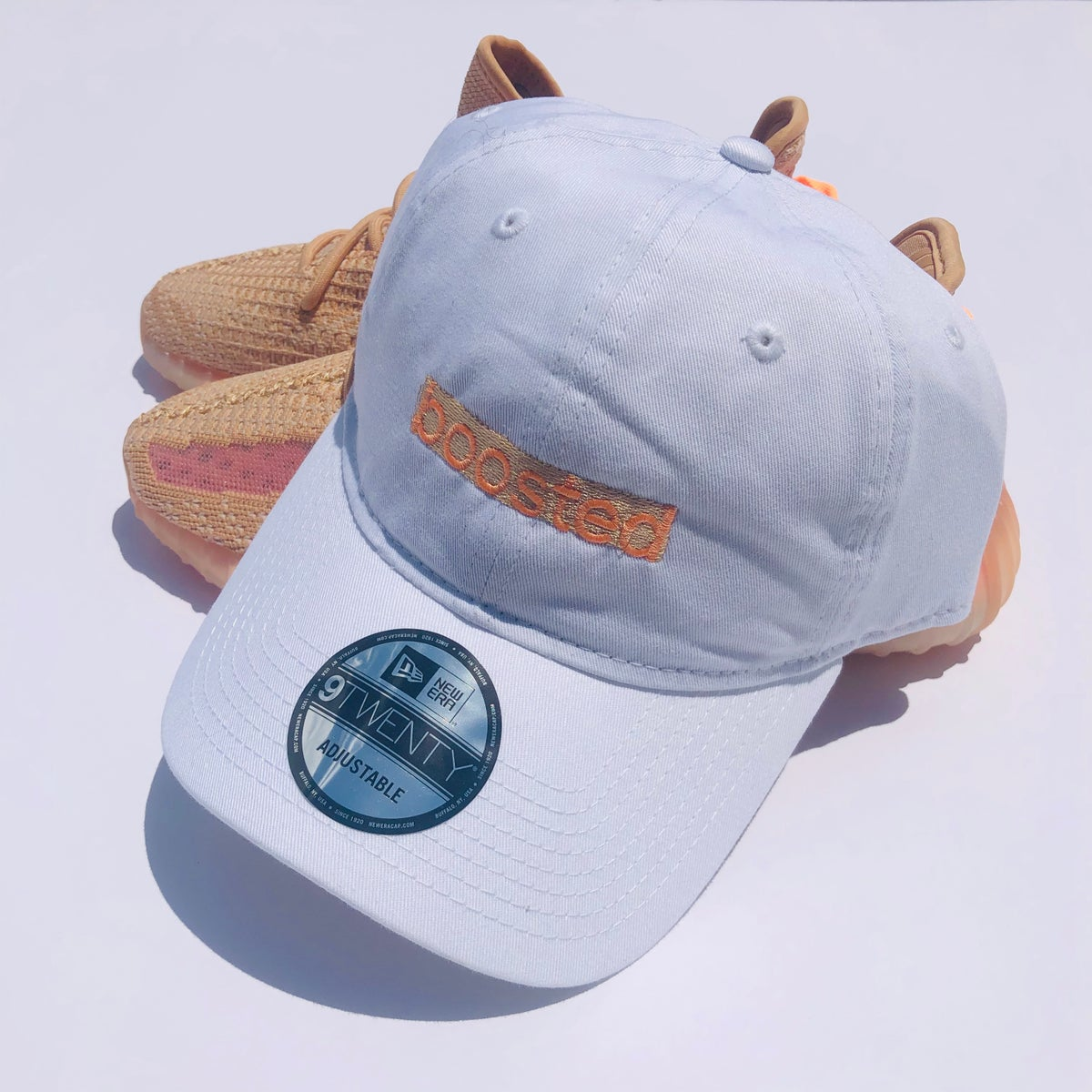 "Image of BOOSTED LONG BAR (SMALL) EMBROIDERY ""CLAY"" DAD HAT"