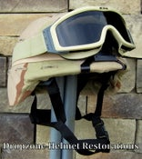 Image of U.S. ARMY PASGT KEVLAR COMBAT HELMET w/upgrade kit parts. Desert Cover, NVG mount. ESS Goggles.