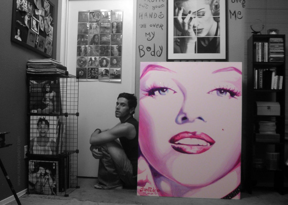 "Image of Signed 5""x7"" photo of artist Nick San Pedro with his 1st Marilyn painting."