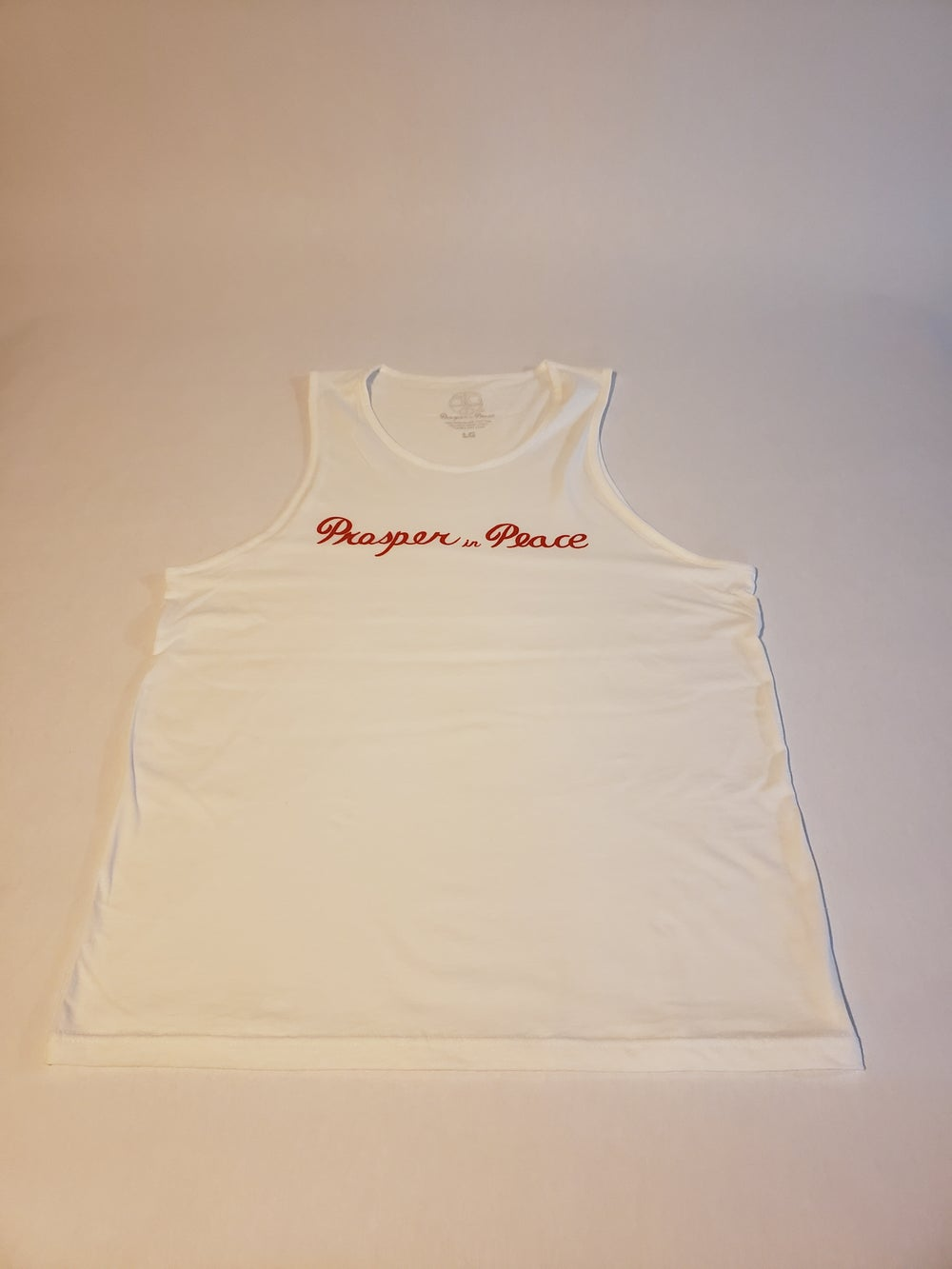 "Image of ""Prosper in peace"" red/white Tank"