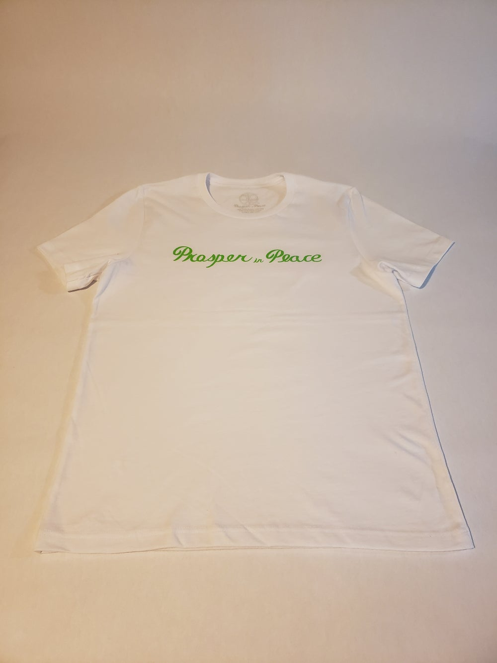 "Image of ""Prosper in peace"" Neon green/white T-shirt"