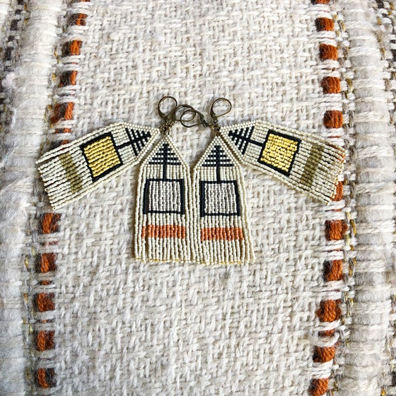 Image of Matte metallic square & neutrals fringe earrings