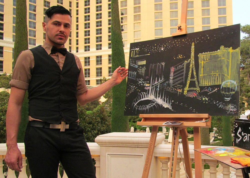"Image of Signed 5""x7"" photo of artist Nick San Pedro painting live at Bellagio in Las Vegas, NV."