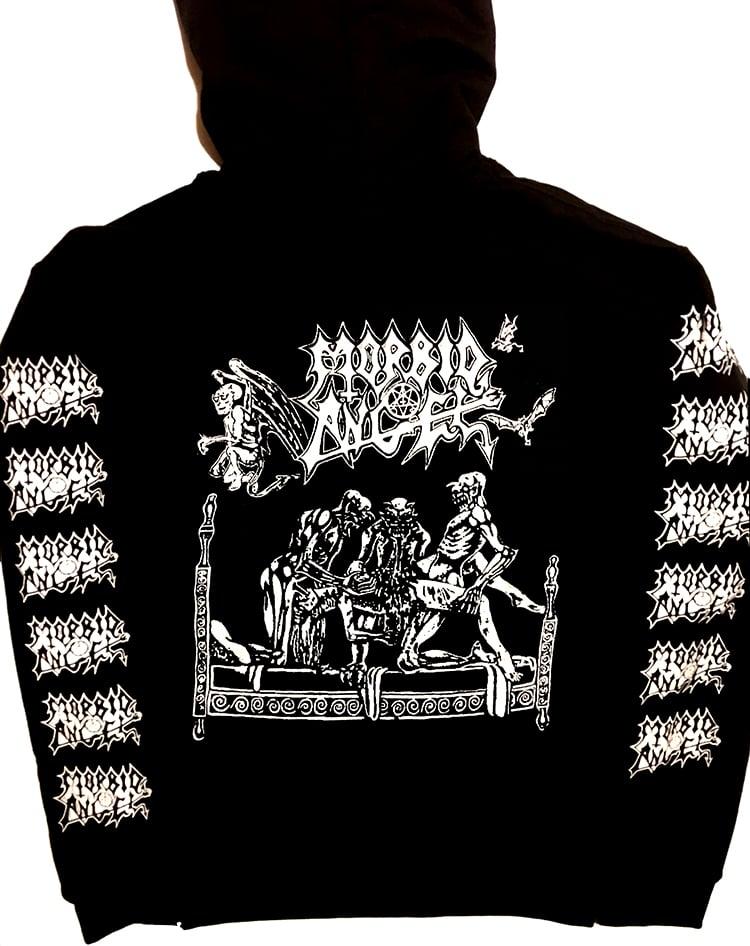 "Image of Morbid Angel "" Abominations of Desolation "" Hoodie with Sleeve Prints"