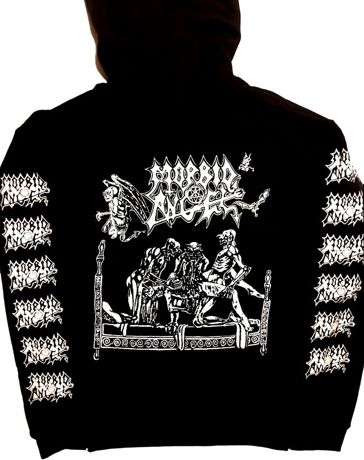 "Image of Morbid Angel "" Abominations of Desolation "" Hoodie with Sleeve Prints"