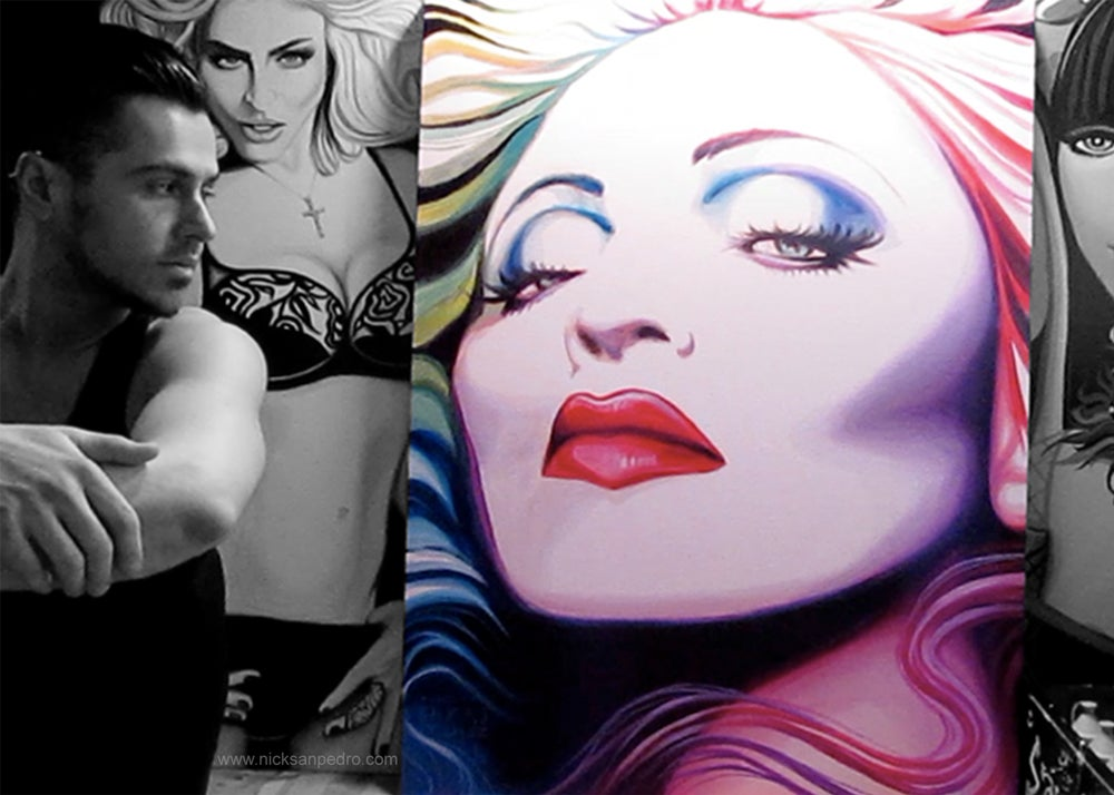 "Image of Signed 5""x7"" photo of artist Nick San Pedro with some of his Madonna paintings."