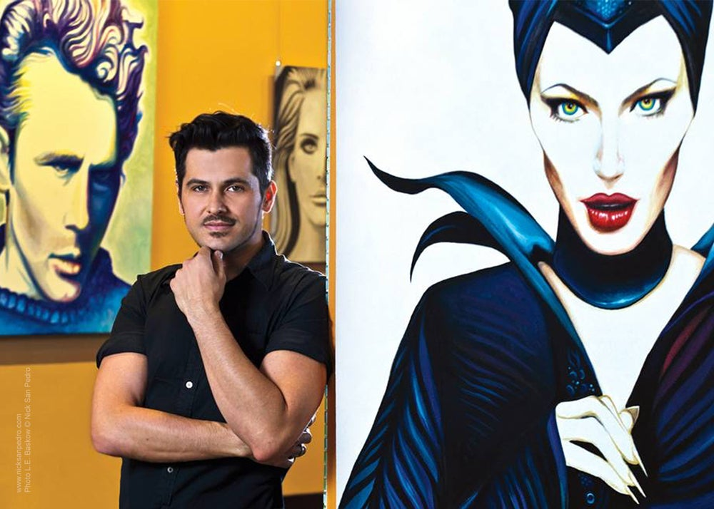 "Image of Signed 5""x7"" photo of artist Nick San Pedro with his Maleficent painting."