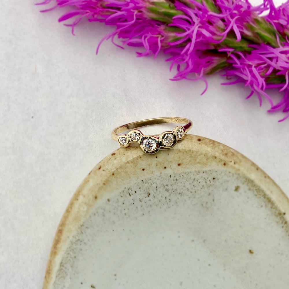 Image of 14k Gold Effervescence Ring with Diamonds