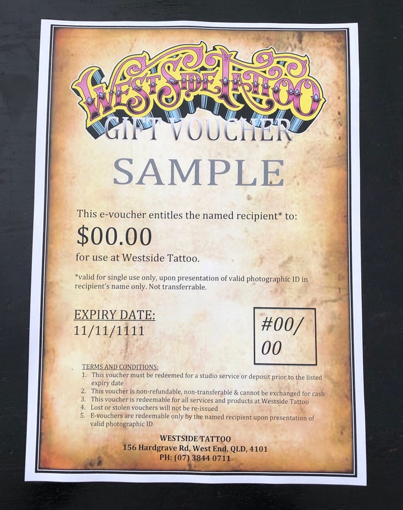 Image of Westside Tattoo E-Voucher (via email) : all amounts from $50