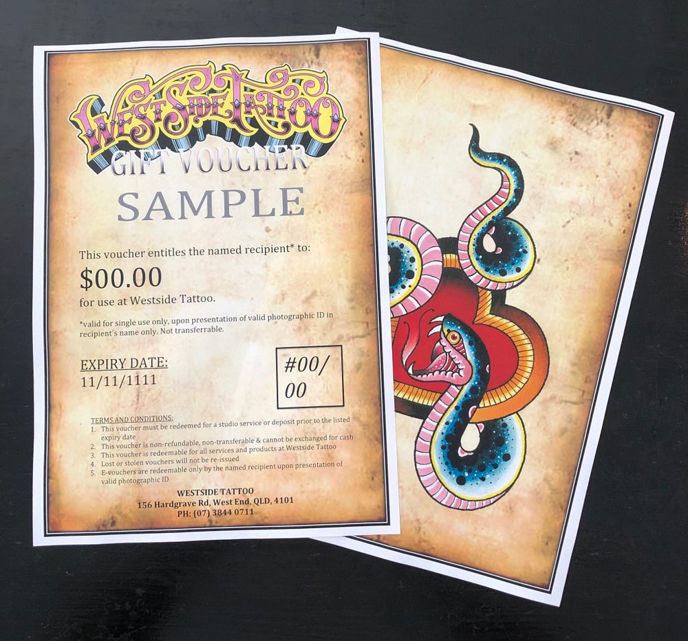 Image of Westside Tattoo Gift Voucher (via Aus Post) : all amounts from $50