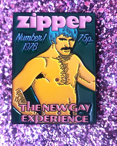 "Image of ""ZIPPER"" VINTAGE FAG MAG ENAMEL PIN"