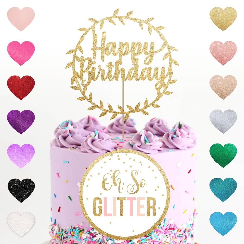 Image of Happy Birthday Foliage cake topper