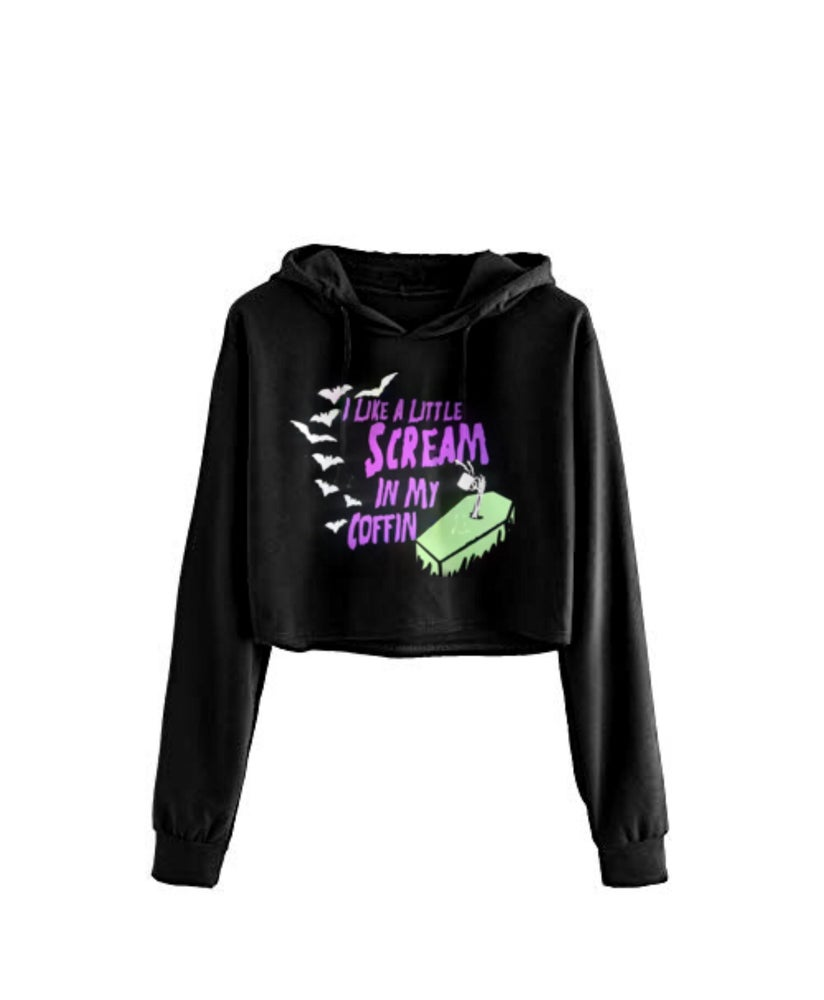 Image of Scream In My Coffin Cropped Hoodie