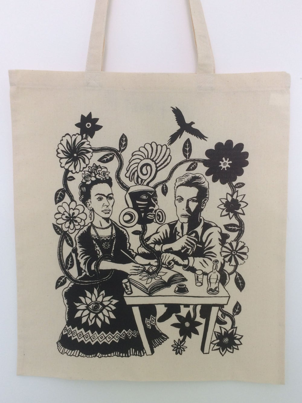 Image of Cosmic Lovers Tote Bag- Frida Kahlo and David Bowie