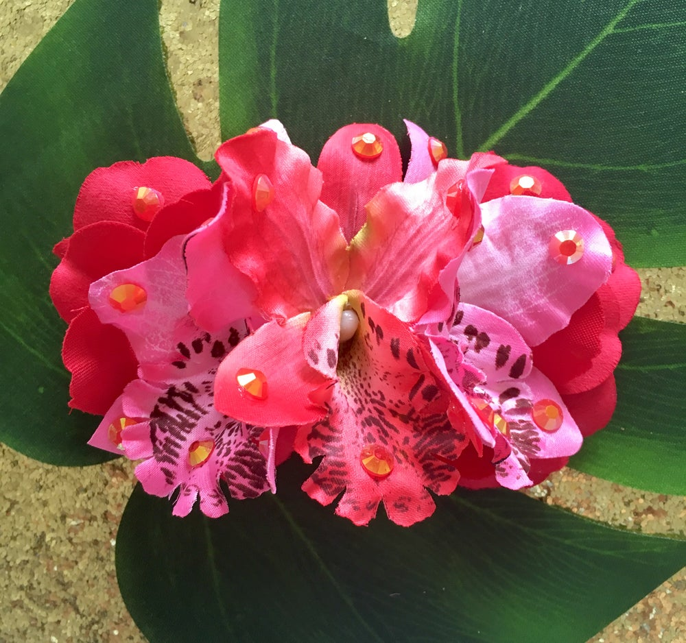 Image of Orchid Sparkle Oasis Hair Flower - Flamingo Paradise