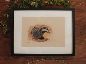 Image of Original Works on Paper Series - Badger - A4/Framed