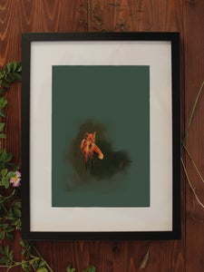 Image of Original Works on Paper Series - Fox - A4/Framed