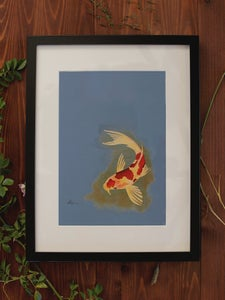 Image of Original Works on Paper Series - Koi - A4/Framed