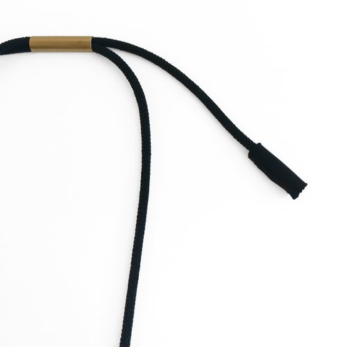 Image of asymmetrical pendant woven necklace #1648, color 10B (carbon/bronze)