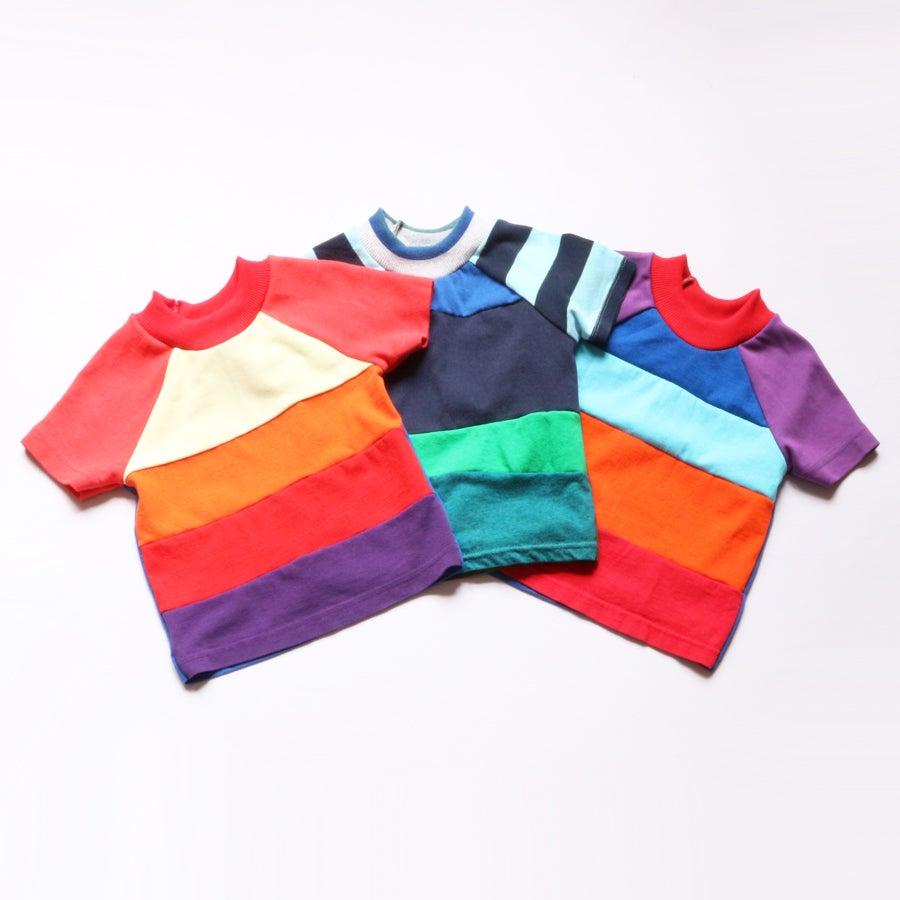 Image of rainbow courtneycourtney TEE shirt unisex top patchwork boys tshirt tees eco upcycle
