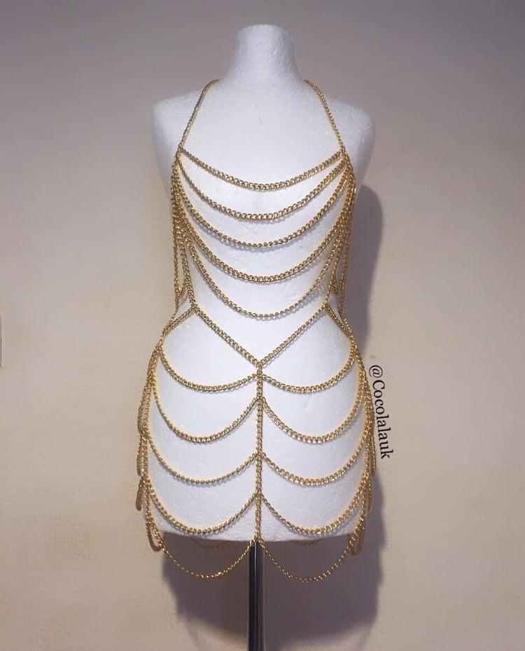 Image of Gold Chain Mini Dress