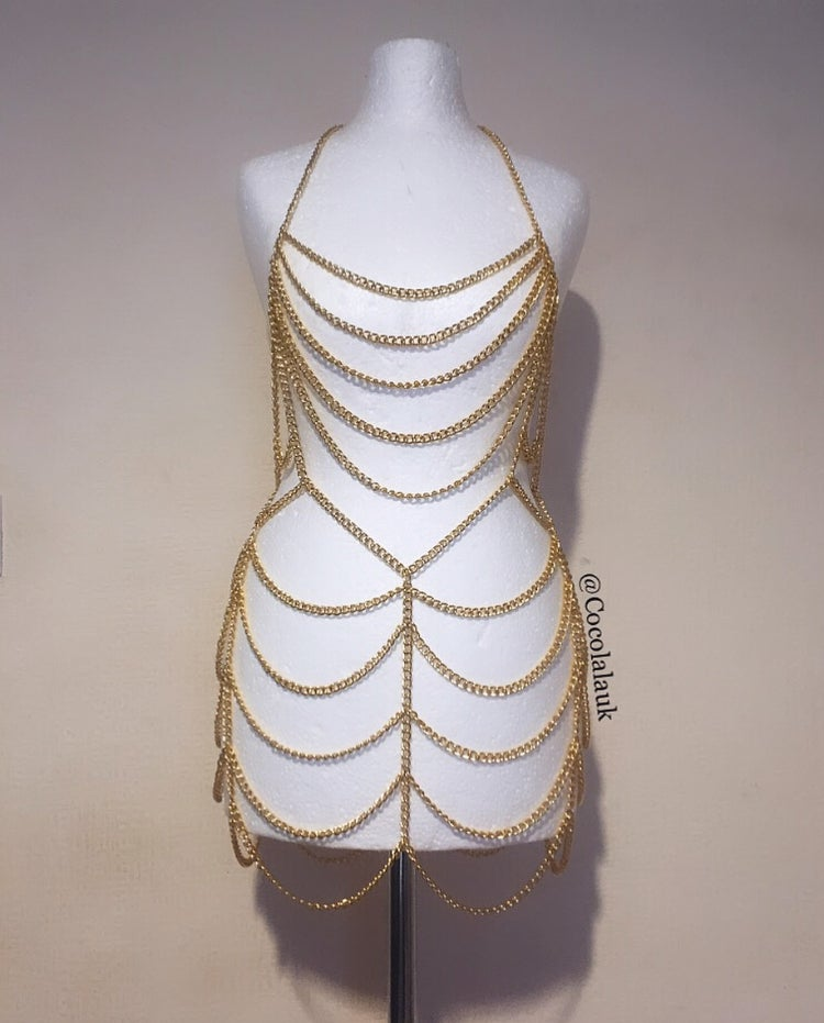 Image of Gold Chain Mini Dress